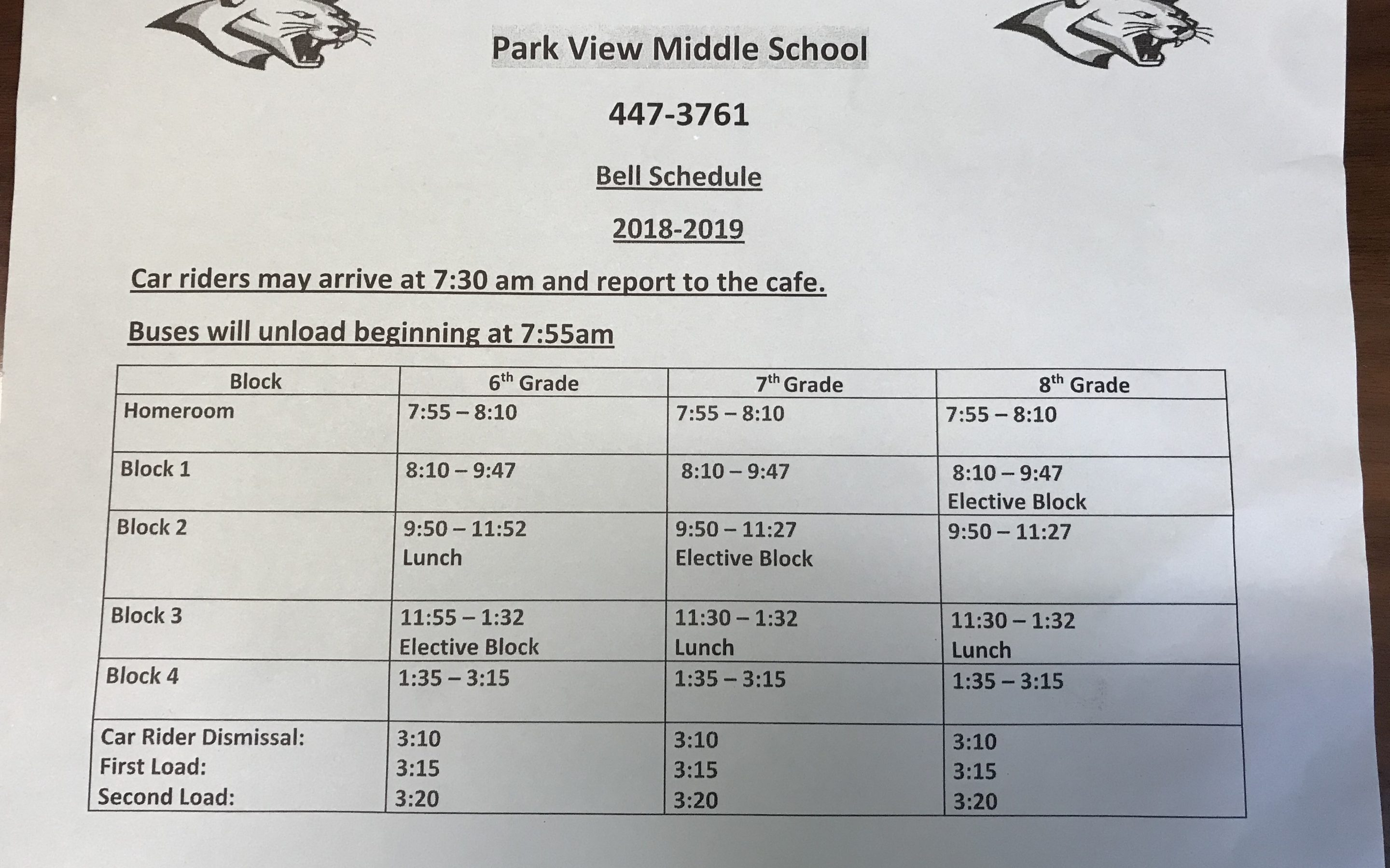 PVMS Bell Schedule