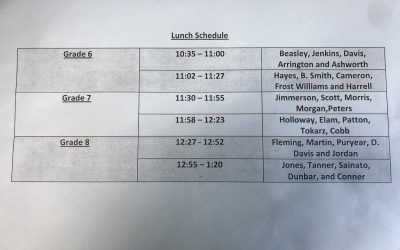 PVMS Lunch Schedule