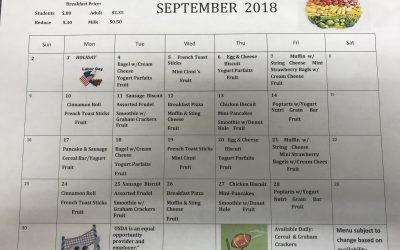 September Breakfast Menu