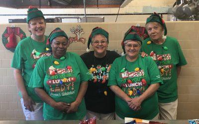 La Crosse Elementary Food Service Staff dressing Festive for the Holidays!
