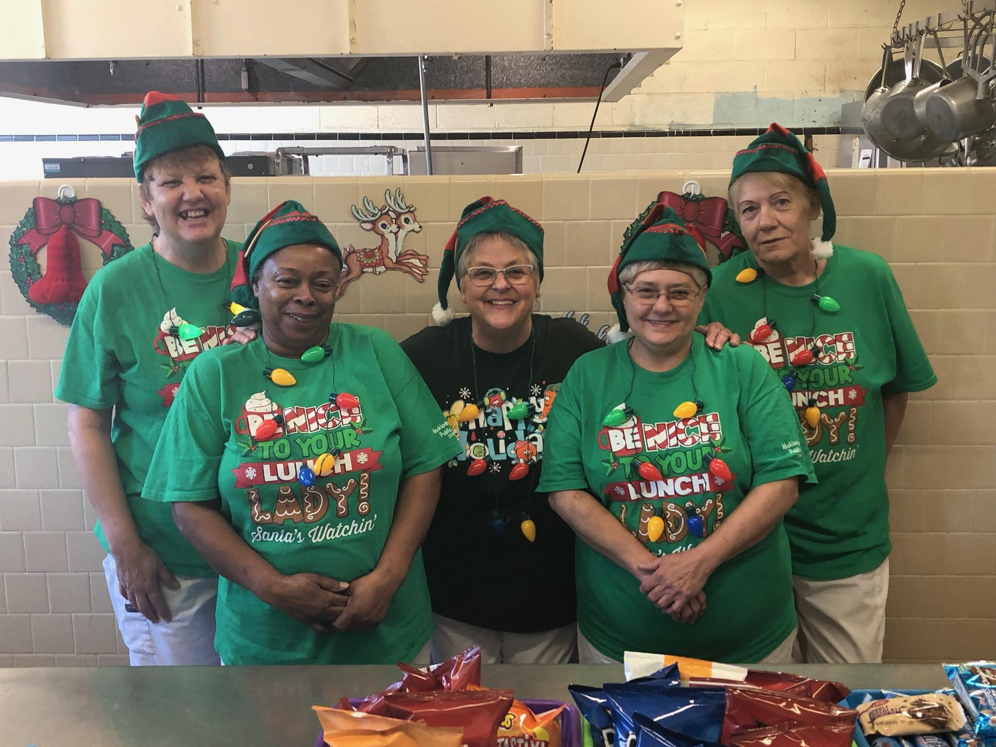 La Crosse Elementary Food Service Staff dressing Festive for the Holidays!