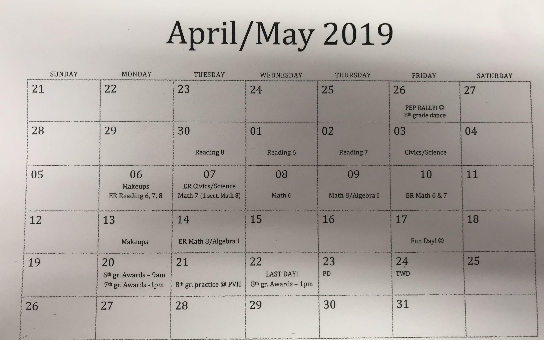 April/May Calendar