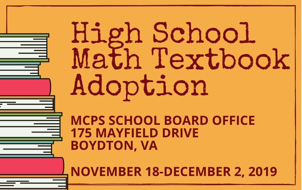 High School Math Textbook Adoption